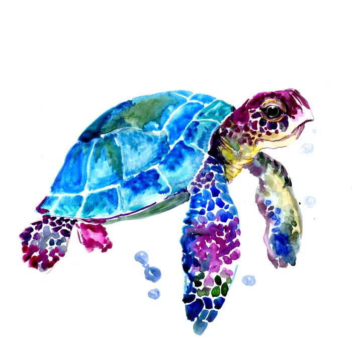 Sea Turtle, Blue Purple Turtle illustration, Sea Turtle design Comforters