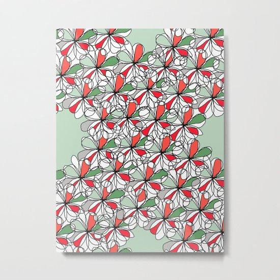 Xmas Floral Doodle Metal Print