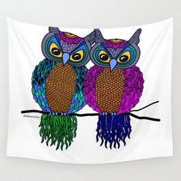 Owls in colourful love- white Wall Tapestry