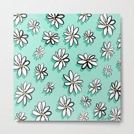 Mint daisy pattern Metal Print
