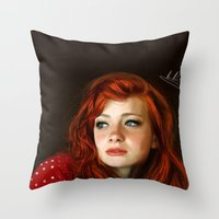 redhead Throw Pillows featuring RedHead by Allaa Adel