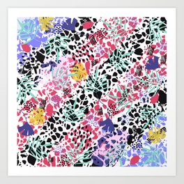 Colorful mess with tropical leaves Abstract  Art Print