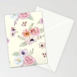 Floral I - Cream Stationery Cards