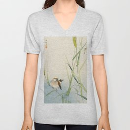 Sparrow and Butterfly  - Vintage Japanese Woodblock Print Art Unisex V-Neck