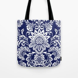 damask in white and blue Tote Bag
