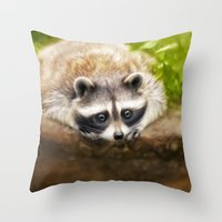 racoon Throw Pillows featuring baby racoon by Photoplace