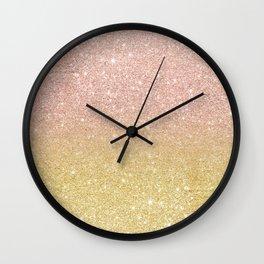 Modern rose gold glitter ombre gold glitter Wall Clock
