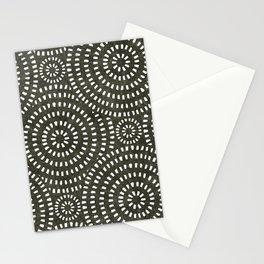 boho circle tile - olive Stationery Cards