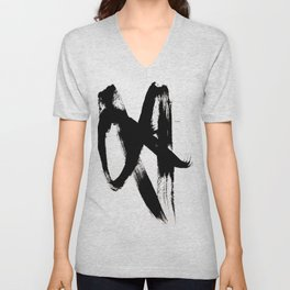 Brushstroke 2 - simple black and white Unisex V-Neck