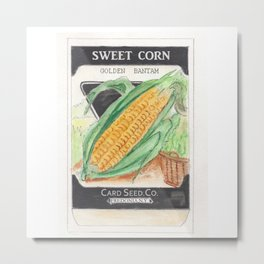 Sweet Corn Seed Packet Metal Print