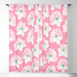 Tropical Amaryllis Floral Watercolor Pattern in Peachy Coral, White, and Green Blackout Curtain