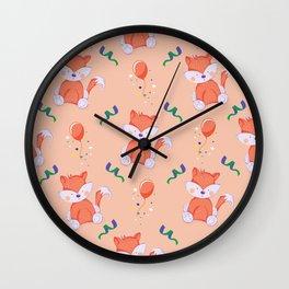 Happy Birthday Orange Fox on Orange Background Pattern Wall Clock