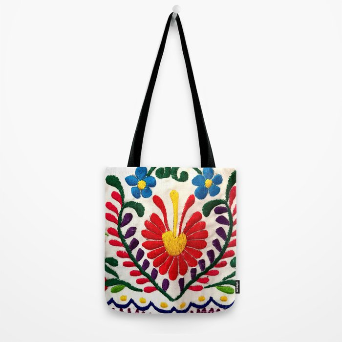 Red Mexican Flower Tote Bag