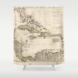 Map of the West Indies by Samuel Dunn (1774) Shower Curtain