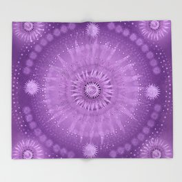 """Purple & Mallow Vault Mandala"" (Silver stars) Throw Blanket"