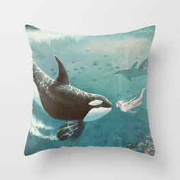 Underwater Love at First Sight Throw Pillow