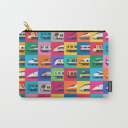 World Trains Grid Pattern Carry-All Pouch
