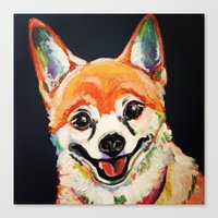 pomeranian Canvas Prints featuring Pomeranian by PaintingsbyGenie