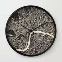 london map Wall Clocks featuring London map by NJ-Illustrations