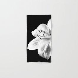 White Lily Black Background Hand & Bath Towel