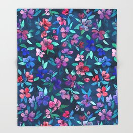 Southern Summer Floral - navy + colors Throw Blanket