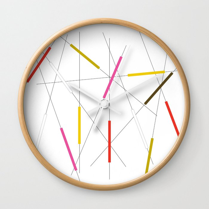 Criss cross red, pink & green Wall Clock