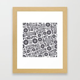 Pattern with the image of bigfoot car Framed Art Print