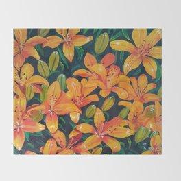 Daylilies in the Garden Throw Blanket