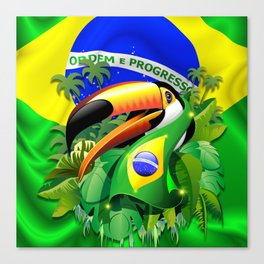 Toco Toucan with Brazil Flag Canvas Print
