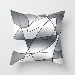 ABSTRACT CURVES #2 (Grays) Throw Pillow