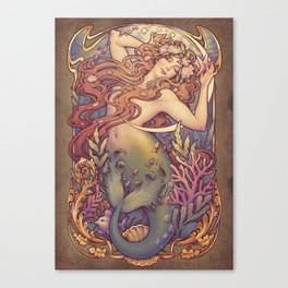 Andersen Little Mermaid Nouveau Canvas Print