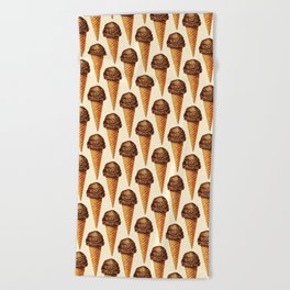 Ice Cream Pattern - Chocolate Beach Towel