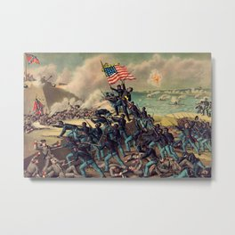 African American Civil War Troops Storming Fort Wagner Landscape Metal Print