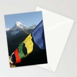 Buddhist prayer flags with mountain peaks Stationery Cards