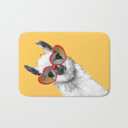 Fashion Hipster Llama with Glasses Bath Mat