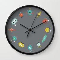 aliens Wall Clocks featuring Aliens by Jill Byers