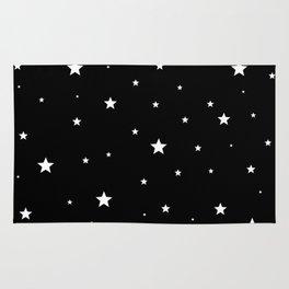 Scattered Stars - white on black Rug