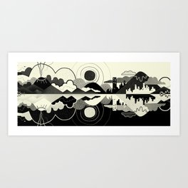 Black and White Land Art Print