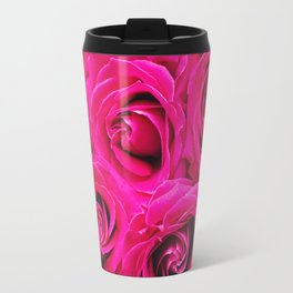 Romantic Pink Purple Roses Pattern Travel Mug