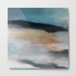 Dawn: a minimal abstract acrylic piece in pink, blues, yellow, and white Metal Print