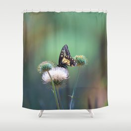 Butterfly Thistle Shower Curtain