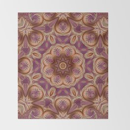 Pink and Gold Spiral Kaleidoscope 2 Throw Blanket