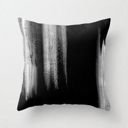 Black And White Bokeh Stripes Brush Strokes - Rad Throw Pillow