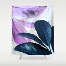 Blue Violet Leaves Shower Curtain