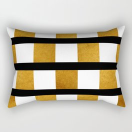 Black White and Gold Rectangular Pillow