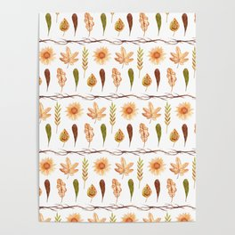 Modern yellow orange green brown fall leaves floral stripes Poster