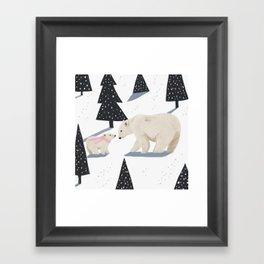 Polar Bear Christmas Framed Art Print