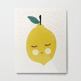 Lemon, Mid century modern kids wall art, Nursery room Metal Print