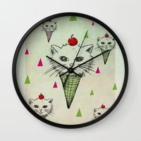 kittens Wall Clocks featuring kittens by blueart