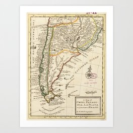 Vintage Map of Chile and Argentina (1732) Art Print